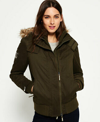 New Womens Superdry Microfibre SD-Windbomber Jacket Army