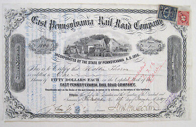 East Pennsylvania Railroad Stock Certificate 1887