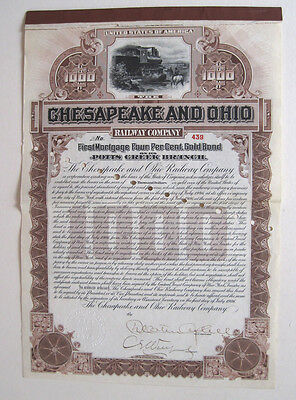 Chesapeake & Ohio Railroad $1000 Bond 1906