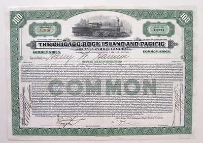 Chicago Rock Island & Pacific Railroad Stock Cert 1931