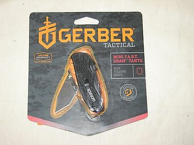 Gerber Tactical Mini Fast Draw Tanto Folding Knife - On Open Package