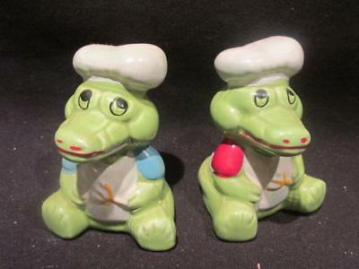 Alligator or Crocodile Chefs Vintage Ceramic Salt & Pepper Shakers with Stoppers