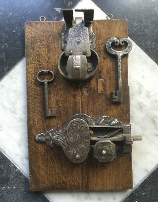 Antique 2 X Superb European Door-Lock Iron + Keys Mounted on Oak 17TH/18TH C.