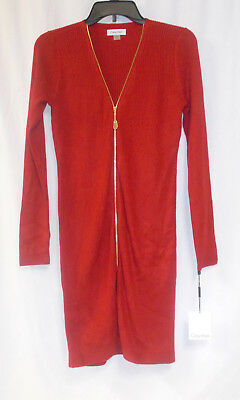 Calvin Klein Womens Long Sleeve Ribbed Sweater Dress Red Petite S NWT