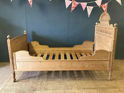 Antique 19th Century Carved Wood Sleigh Bed Single Size Mahogany French Style