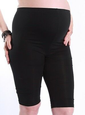 Basic Maternity Adjustable waist Knee Length Short Legging - Black