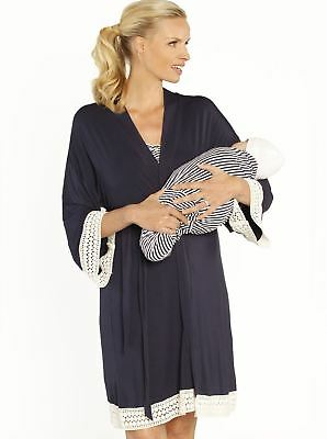 Nursing Dress + Robe + Free Baby Blanket Pouch - Hospital Pack Navy