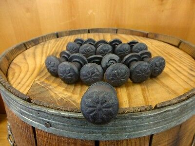 "Set 12 Brown Floral Flower Pattern 1"" Round Drawer Cabinet Knobs Pulls Cast Iron"
