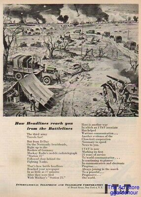1945 US Third Army WWII IT&T radiotelegraph Rosner Ad : Vintage Advertising