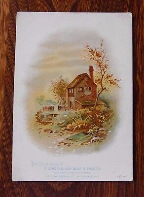 Victorian Trade Card, Schoeonecker Boot & Shoe Co., Milwaukee, Country Cottage