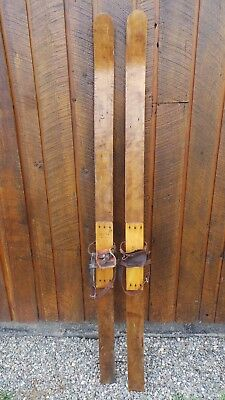 "Antique Wooden Skis 70"" Long with Bindings Have a Primitive Look Hand Made"