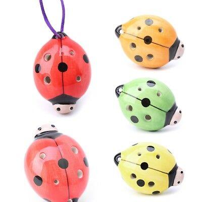 6 Holes Ladybug Ocarina Ceramic Key A C F Musical Instrument For Children Kids
