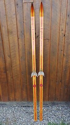 "VINTAGE Wooden 77"" RED Skis with Bindings and Signed SKILOM"