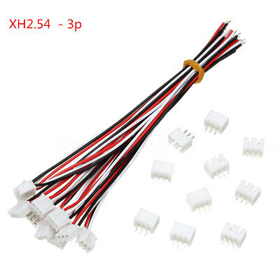 10Sets Mini Micro JST XH2.54mm 3Pin Connector Plug With Wires Cables 24AWG 150mm