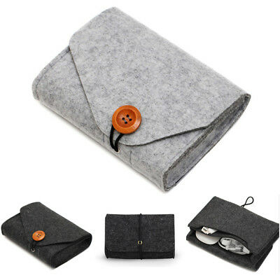Felt Carrying Soft Case Box Headset Earphone Earbud Storage Pouch Bag Portable