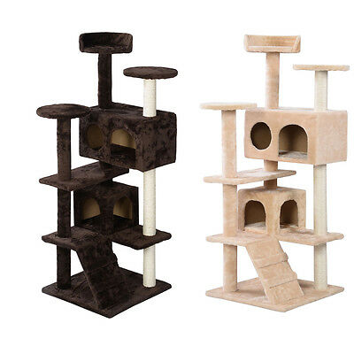 """52"""" Cat Tree Tower Condo Play House Pet Scratch Post Kitten Furniture 2 Color"""