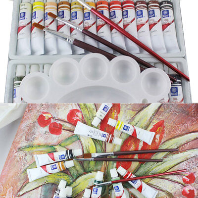 24 PC OIL PAINT SET Professional Artist Paints Painting Pigment 12ml Tubes New