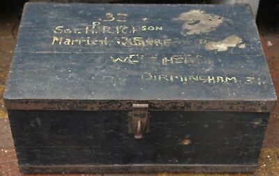 Old Dirty Wooden Metal Banded Chest Box With Military Connections To Tidy Up