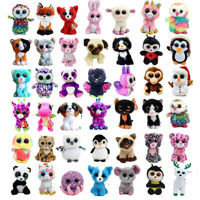 "6"" Ty Beanie Boos Plush Animals Doll Babies Big Eyes Kids Stuffed Soft Toy"