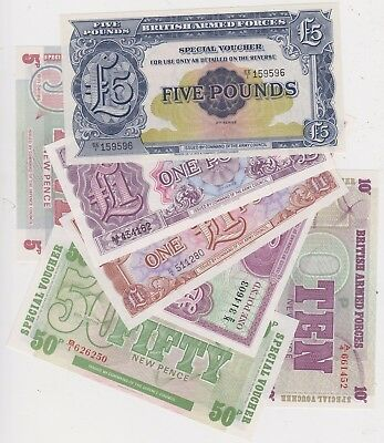 A Type Set £5 To 5 Pence Mint Condition Military Armed Forces Banknotes