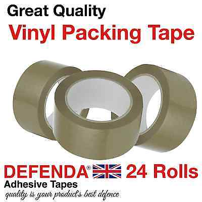 24 Rolls of 66m x 48mm STRONG BROWN VINYL PACKING BOX TAPE Parcel Packaging