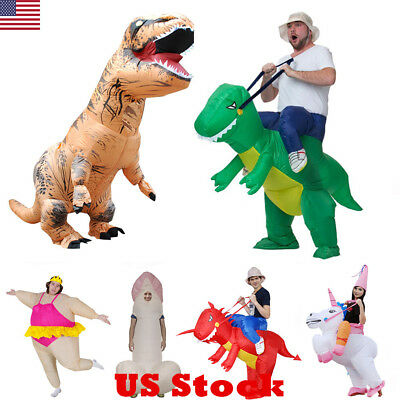 USA Adult Inflatable Costume Dinosaur Suit Blowup Halloween Fancy Dress Outfit