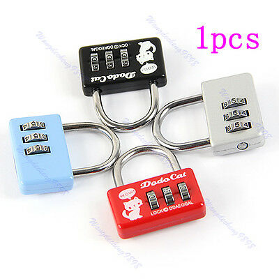 Mini 3 Digit Combination Luggage Suitcase Number Security Cable Lock Padlock Bag