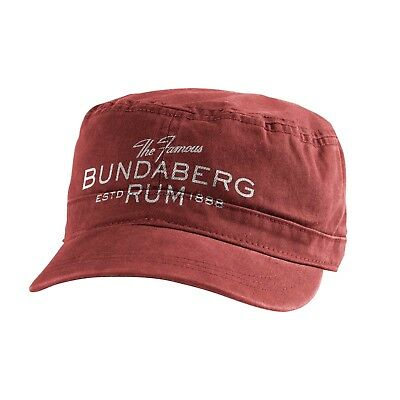 Bundy Bundaberg Rum Military style Hat Cap with Velcro back Washed red UNISEX