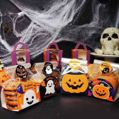 100x Large Halloween Themed Cellophane Cello Bags Cookie Treat Gift Bags