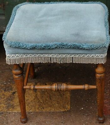 Nice Old Upholstered Wooden Stool With Turned Legs To Polish Up