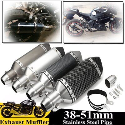 38-51mm Universal Motorcycle Steel Short Exhaust Muffler Pipe Removable Silencer