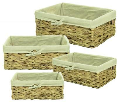 Natural Woven Water Hyacinth Shallow Wicker Storage Basket Box With Liner