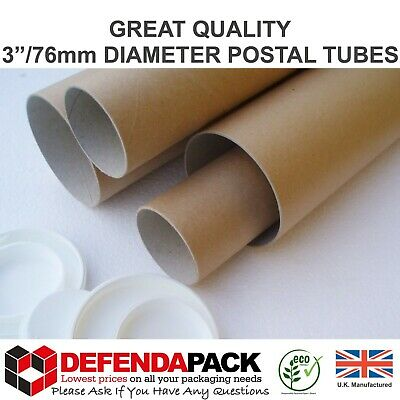 """100 x 8"""" (203mm) x 3"""" WIDE DIAMETER Short Small POSTAL TUBES Posting A5 Posters"""