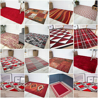 Modern Red Living Room Rugs Soft Small Large Wine Rich Shaggy Geometric Area Rug