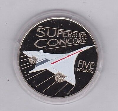 Guernsey 2009 Supersonic Concorde £5 Crown In Near Mint Condition In Capsule