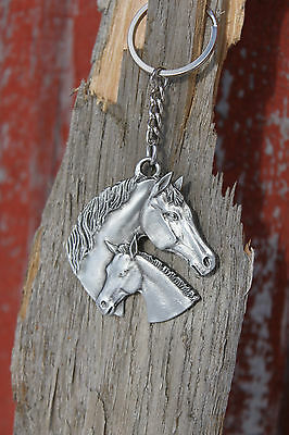 Lead Free Pewter Horse Keychain horse & colt heads Gift key chain metal - NEW