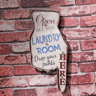 Laundry Room LED Light Signs Vintage Metal Tin Sign Cafe Art Wall Decor
