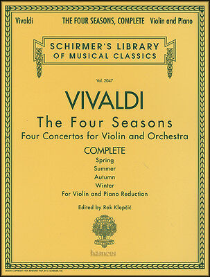 Vivaldi The Four Seasons Complete Violin & Piano Sheet Music Book