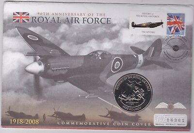2008 Guernsey Base Metal £5 Coin & Stamp Cover Battle Of Britain