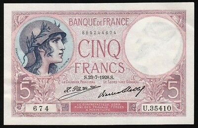 5 Francs From France 1928 M Unc