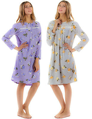 Casual Nights Women's Long Sleeve Micro Fleece Cozy Floral Night Gown
