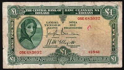 1 Pound From Ireland 1951 M