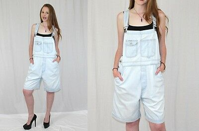 Vintage 90s London London Light Wash Denim Jeans Retro BIBS Shorts Overalls L