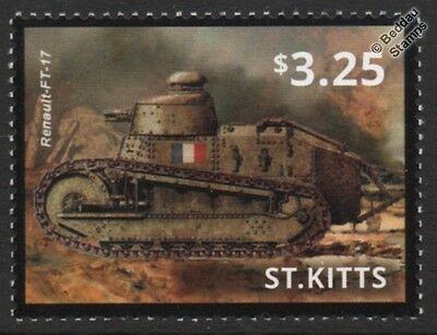 WWI French Army RENAULT FT-17 / FT17 Light Tank Stamp (2015 St Kitts)
