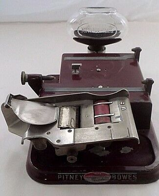 Antique RARE 1920s Pitney Bowes Model H Postage Meter Base w/ Glass Ink Bottle +