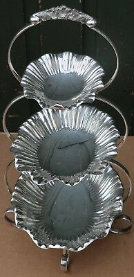 Fabulous Quality Old Walker & Hall Silver Plated Stand With 3 Graduated Bowls On