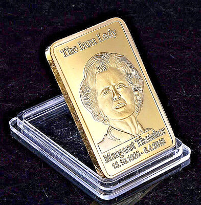 Margaret Thatcher Gold Bar Union Jack Ingot Crown Iron Lady Great Britian Retro