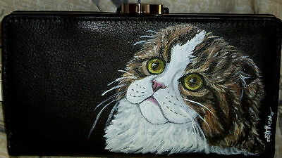 Scottish Fold Tabby Cat Hand Painted Ladies Leather Wallet