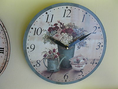 Large Wall Clock 30 cm Nostalgia Watch Antique Style Flowers