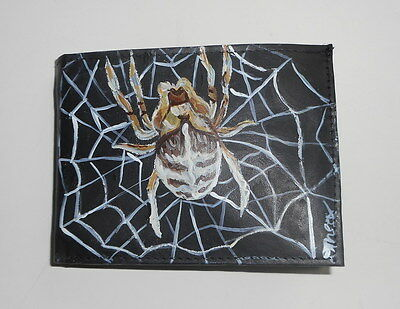 Spider Hand Painted Bifold Leather Wallet for Men